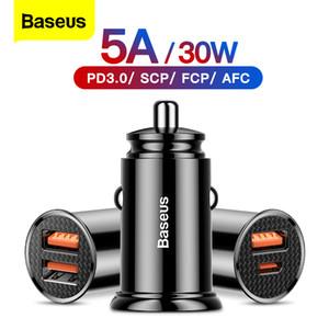 Baseus 30W Quick Chad 4.0 3.0 USB Car Cercando il sovrappartamento SCP QC4.0 QC3.0 Fast PD USB C Caricabatterie per telefono auto