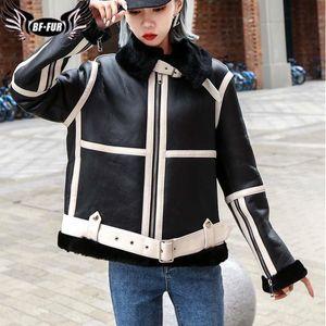 BFFUR Genuine Leather Real Fur Coat Ladies Zipper Locomotive Merino Wool Liner 2020 New Winter Soft High-end Belt Jacket Women