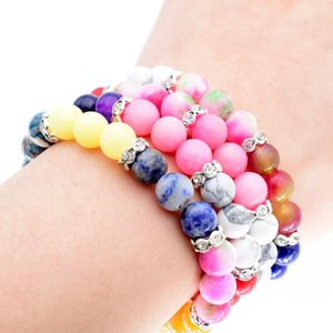 Colorful Beaded Chakra Bracelet Lava stone Natural Beads Shine Bright RhineStone Bracelets For Women and Men jewelry Br164