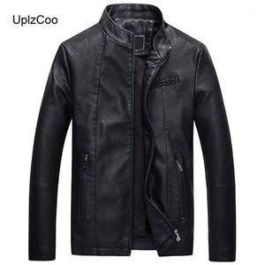 UPLZCOO мужская кожаная куртка осень и зимнее пальто мужской мотоцикл кожаная куртка PU теплые толстые мужские FM0351