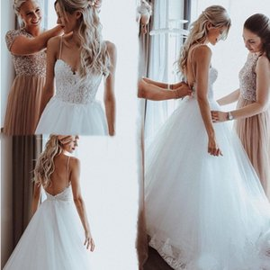 2021 Sexy Boho Beach Backless Wedding Dresses Spaghetti Straps A-Line Summer Lace Appliques Pearls Floor Length Bridal Gowns Robe De Mariee