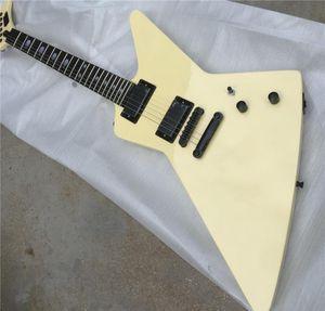 Metallica James Hetfield Cream White Explorer Electric Guitar EET FUK Fingerboard Inlay, Active Pickups & 9V Battery Box , Black Hardware