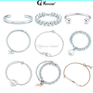 luxury 100% 925 Sterling Silver Bracelet Pendant Fashion Heart Bead Chain Pendant Rose Gold and Gold Selection For Women Gift