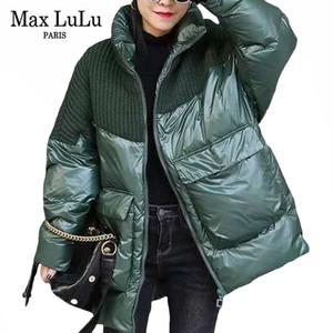 Max Lulu 2020 Nuevo diseñador de moda coreano Mujeres de punto Abrigos de punto Señoras Cálidas sueltas de invierno Duck Down Jackets Vintage acolchado Parkas