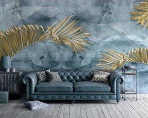 3d European Leaves Wallpaper Modern Fresh Plant Golden Leaves Nordic TV Sofa Background Wall 3d Wallpaper Scenery