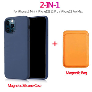 2 in 1 custodia in silicone liquido magnetico + borsa da portafoglio per iPhone 12 Pro Max Mini Magsafe Magnete Bited Holder per iPhone 12