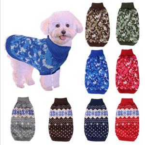 كلب الملابس الملونة جرو هوديي المنشورية منقوشة تريكو الكلب سترة الخريف لينة الدافئة الجرو الكلاب قميص الأزياء تصاميم DHB3573