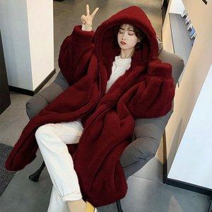 LIJ QM con capucha Parka de gran tamaño de la chaqueta de piel sintética cálida larga abrigo abrigo de invierno suelto mujeres -20 grados