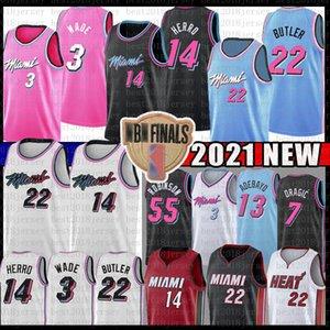 BAM 13 JIMMY TYLER 22 BUTLER 14 HERRO ADEBAYO Jersey de baloncesto MiamiCalor55 Dwayne Dwyane 3 Wade Goran Duncan Dragic Robinson Nunn