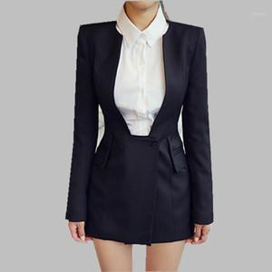 Hamaliel Yeni 2019 Bahar Ofis Bayanlar Blazer Coat Iş Siyah Uzun Kollu Ince V Boyun Ceket Foarmal İş Tüm Maç Blazer1