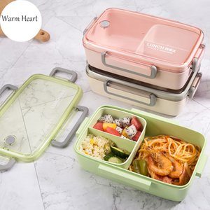 Brown Green Pink Lunch Box Bamboo Fiber Material Portable Bento Box Microwaveble Food Storage Container For Office Children Z1123