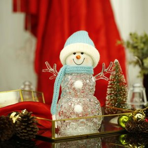 Christmas Glowing Snowman Santa Claus Baby Doll With Led Flashing String Light Bedroom Table Lamp Lanterns Adorn Decoration Gift