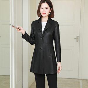 Nerazzurri noir PU Blazer Slim Faux Automne PLUS Taille Cuir Vestes pour Femmes 5XL 6XL 7XL