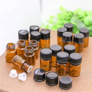 100 adet Küçük Amber Temel Yağ Şişesi ile Plastik Kapak, 1 ml Cam Şişe, Mini Kahverengi Cam Şişeler, Mini Cam Konteyner T200819