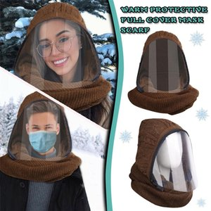 2020 New zipper clamshell transparent face mask for winter warm with neck mask fashion lip-language mask design Knitted material DHD2972