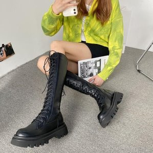 women boots winter snow booties black increase Long tube fashion womens Motorcycle boot leather shoes size 35-40