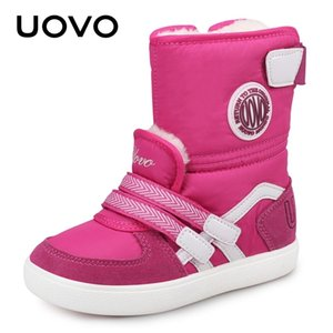 UOVO 2020 Water Repellent Kids Boots Fashion Snow Boots Children Winter Shoes Beatiful Girls Short Boots With Fur #26-39 Y1116