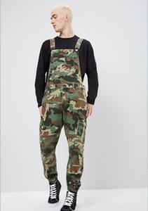 2019 Streetwear Men's Camo Jeans Jumpsuits Hi Street Distressed Denim Bib Overalls For Man's Jeans Suspender1