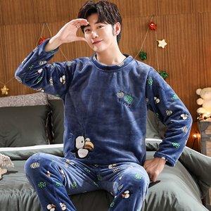 Autumn Winter Long Sleeve Thick Warm Flannel Pajama Set for Men Coral Velvet Sleepwear Suit Pyjamas Lounge Homewear Home Clothes Q1202