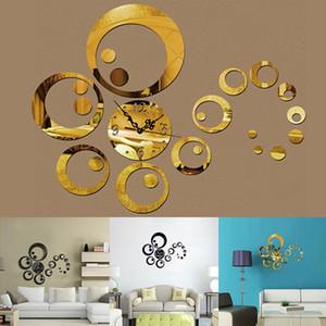 Modern 3D Acrylic Circles Mirror Wall Sticker Clock Decoration Living Room Decor