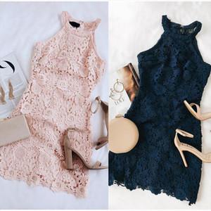 Elegant Lace Sleeveless Pink Mini Dress Women Summer Plus Size 5XL Solid Pencil Dresses 2020 Fashion Sexy Halter Bodycon Vestido