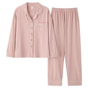 Frauen-Pyjamas Zweiteiler Frühling, Herbst und Winter warm Turn-down Collar Cardigan Lounge Startseite Anzüge Nachtwäsche Lange s