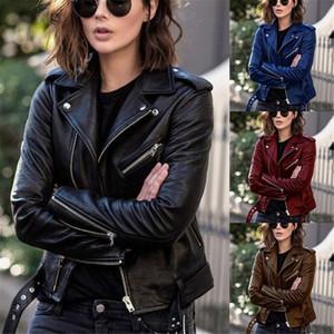 Kadınlar Sonbahar Ceket Ceket Dış Giyim Ince PU Deri Ceket Kadınlar Için Kısa Mont Güz Bayan Giyim