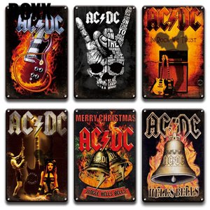 ACDC Band Rock N Roll Plaque Metal Tin Sign Vintage Man Cave Bar Pub Home Decor Retro Living Room Wall Art Metal Poster Signs