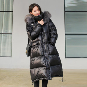 High quality Down Jacket Women 2020 Winter Raccoon Dog Fur collar Hooded Coat Thick Warm Female White duck down Long Coats
