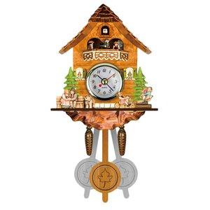 Antique Wooden Cuckoo Wall Clock Bird Time Bell Swing Alarm Watch Home Art Decor