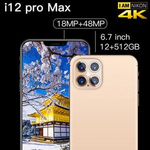 Global Version I12 Pro Max 6.7 '4800MAH Octa Core Quad 12GB + 512GB Задняя камера Android 10.0 мобильный телефон 4G LTE Smartphone