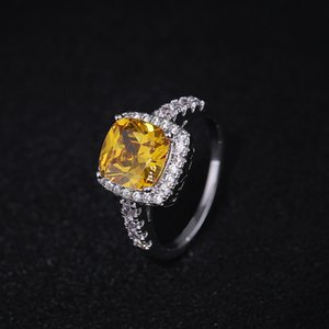 FashionJewelry Ring Elegant Plated Silver Austria Crystal Square Zircon Wedding Engagement Band Ring for Woman Jewelry Gift Size 6-9