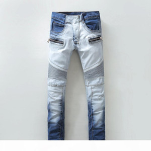 Mens Blue Skinny Biker Jeans Famous Denim Joggers Pants for Man 100% Cotton Slim Fit Jean Demin Trousers Sales