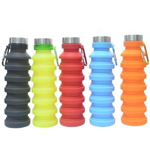 550ml 19oz portátil retrátil garrafa de água de silicone dobrável colapsible café frasco de água potável Beber garrafa copos canecas DHF4634