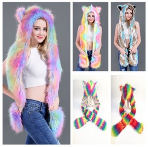 Women Colorful Faux Fur Hat Up Hood Animal Rainbow Hat Wolf Plush Warm Animal Cap With Scarf Gloves Party Scarf Mittens 5 styles mk719