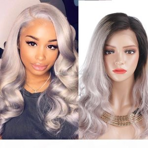 Full Lace Human Hair Wigs Lace Front Human Hair Wig Ombre T1b grey# Color Wavy Side Part 130% Density Wig