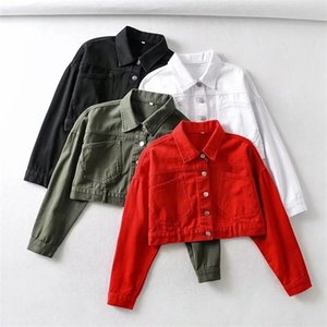 Women Spring Autumn Casual Crop Top Solid Coat Short Denim JacketZ1127