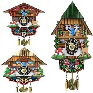 1PCS Antique Wooden Cuckoo Wall Alarm Clock Bird Time Bell Swing Watch Home Decor