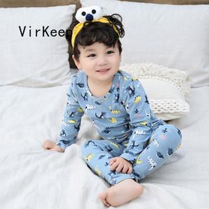 2021 baby kids sleepwear suits full sleeve tops and pants two pieces Set Boys Girls children cotton soft warm homewear VKTZ1032 J1204