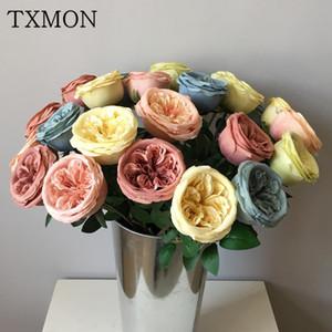 Txmon single bella e affascinante fiore artificiale di seta austin rosa casa soggiorno decorazione di nozze floreale falso
