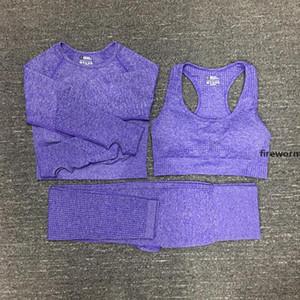 Womens Cotton Yoga Suit Gymshark Sportwear Tracksuits Fitness Sport Three Piece Set 3 Pants Bra T Shirts Leggings Outfits 01