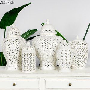 European White Hollow Ceramic General Jar Ornaments Creative Arts and Crafts Living Room Home Decoration Accessories Modern New