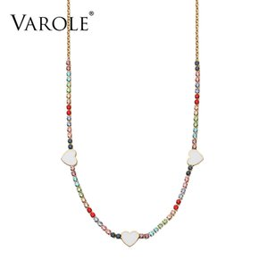 VAROLE Lovely Heart Choker Necklace Colorful Crystal Link Chain Necklaces Pendants Copper Necklace for Women Collier