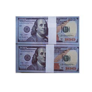 Wholesale Realista de dólares estadounidenses Bills Pretend Papel Dinero 20/50/100 Dollar Copia Billete Billete Prop Money 100pcs / Pack