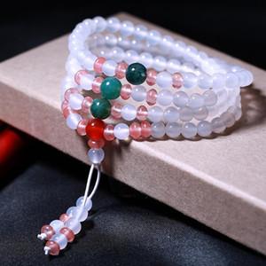 JoursNeige natürliche weißer Kristall 108 Perlen 6mm Glück Armband für Frauen-Mädchen-Schmuck