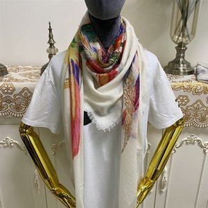 New style good quality 100% cashmere material thin and soft print beige color square scarves for women size 130cm - 130cm