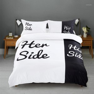 2 3pcs Bedding Set HOT SALE Black&white Her Side His Side bedding sets Queen King Size Bed Linen Duvet Cover Set1
