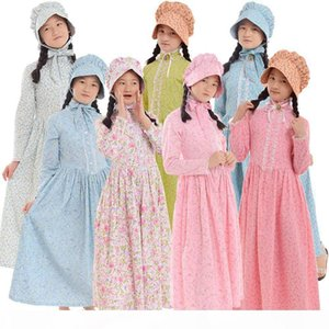 Kids Halloween Carnival Party Girls Costume Civil War Colonial Countryside Dress with Hat Reenactment Outfit 6-14 Years