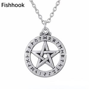 FishHook Small Rune Alphabet Pentacule Pentagram Pendentif Norse Viking ASAru Bijoux Charm Collier