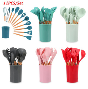 11PCS Silicone Cooking Utensils Set Non-stick Spatula Shovel Wooden Handle Cooking Tools Set With Storage Box Kitchen Tools OWB3326